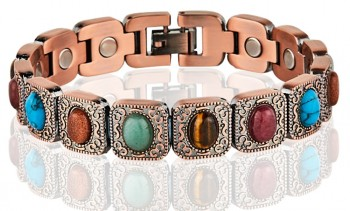 Magnetic Copper Tone Link Bracelet Multi Color Stone in California