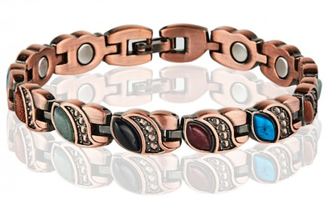 Magnetic Copper Tone Link Bracelet Multi Color Stone