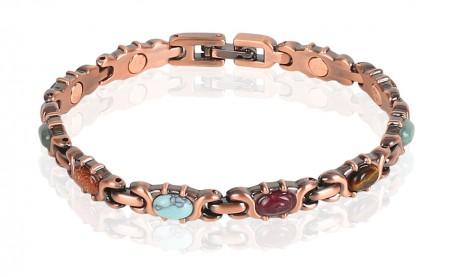 Magnetic Copper Tone Link Bracelet Multi Color Stone