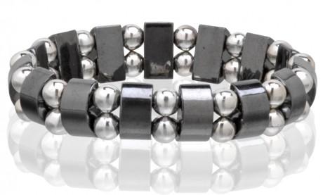 Magnetic Hematite Stretchable Bracelet - 2 Line