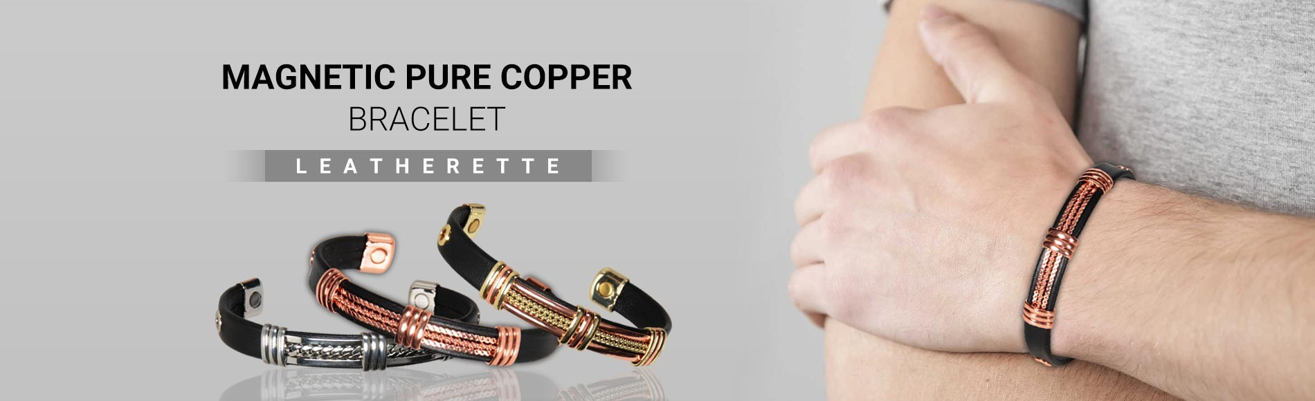 Magnetic Pure Copper Bracelet Leathertte