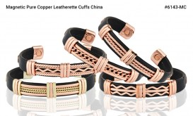Buy Magnetic Pure Copper Leatherette Cuffs in Downey, California